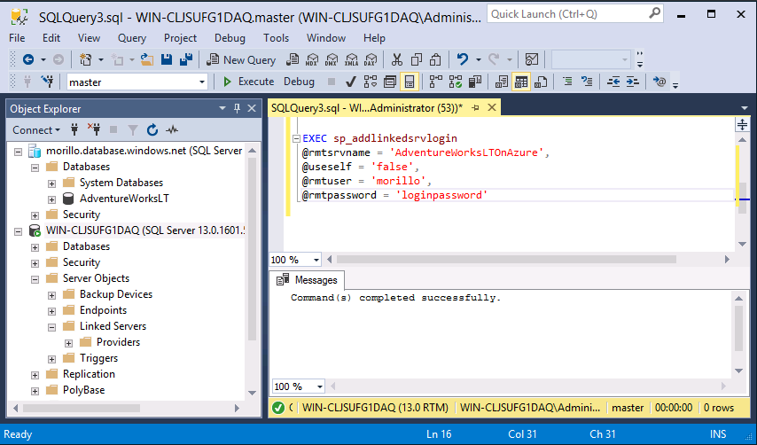 SQLCoffee - How to create a Linked Server to a SQL Azure Database