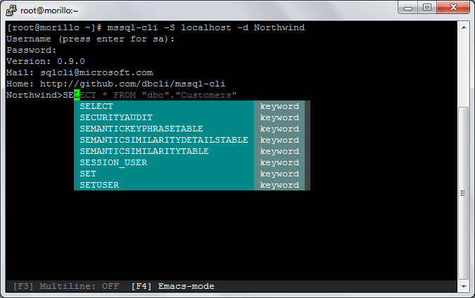 SQLCoffee - mssql-cli query tool for SQL Server on Linux