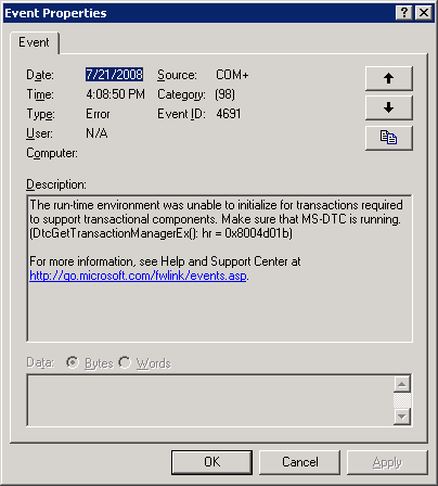 SQLCoffee - MS DTC was unable to start