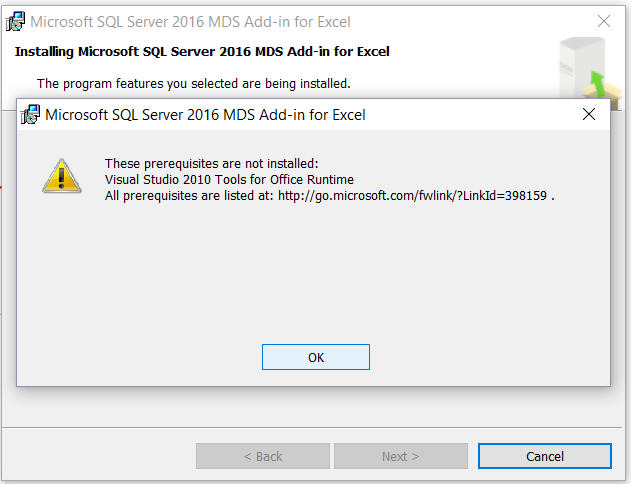 SQLCoffee - Prerequisites of SQL Server 2016 MDS Add-in not